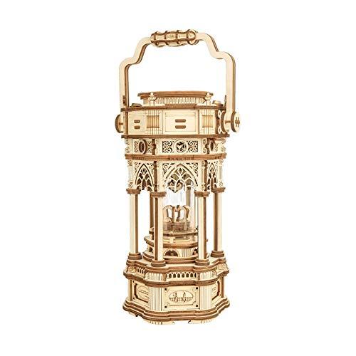 ROBOTIME 3D Rompecabezas Mecánico Caja de música Linterna Victoriana Kits de Modelos de Madera Rompecabezas Corte por láser Artesanía de construcción para Adultos