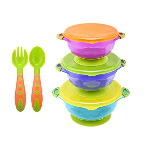 Zooawa Kit de Tazón con Ventosa para Bebé, 3PZS Multicolor Bol Antideslizante con Tapa, con Cuchara y Tenedor, Juguete de Alimentación de PP de Grado Comestible sin BPA para Bebé Más de 6 Meses