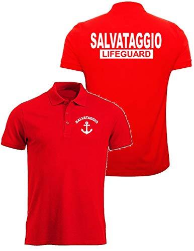 WIXSOO Canotta Lifeguard Uomo Stampa Fronte Retro Rossa