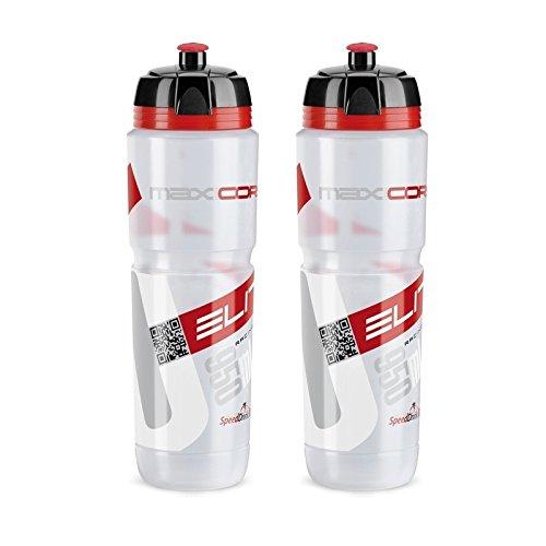 Elite 0102204 Corsa Trinkflasche Maxi, 950 ml, klar/rot (2 Stück)