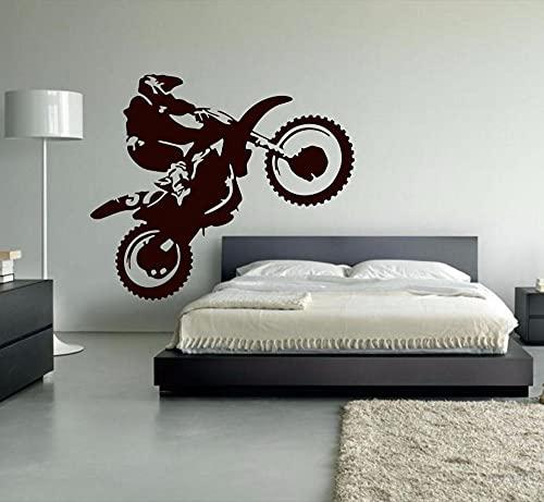Gran Motocross Dirt Bike Motocicleta Trucos Deporte extremo Casco Jugador Vinilo Etiqueta de la pared Calcomanía Dormitorio de niño Sala de estar Club Decoración del hogar Mural
