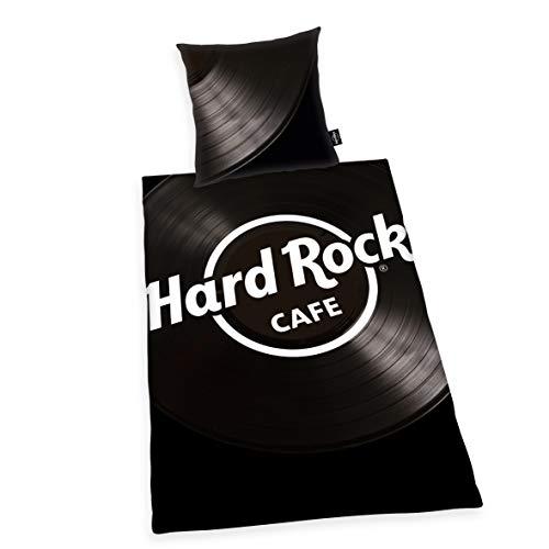 Herding Hard Rock Set copripiumini e federe, Cotton, Nero, 80 x 80 cm, 135 x 200 cm