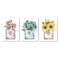3枚 アートパネル 香水 ポスター ピンク 青 黄色 花 ポスター キャンバスアート インテリア 絵画 北欧 壁掛け アート 装飾 壁絵