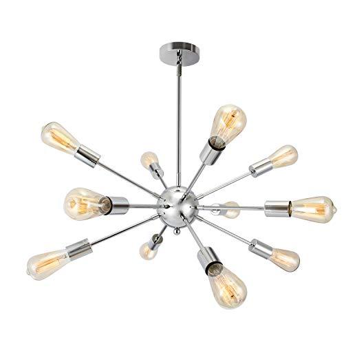 SISVIV Lámpara Araña Sputnik Moderna Iluminación con 12 Luz Lámpara de Techo Colgante para Dormitorio Comedor Sala de Estar Plata