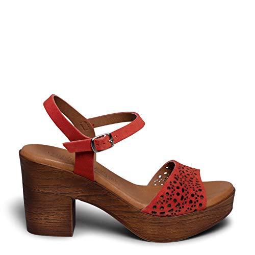 Zapatos miMaO. Zapatos Piel Mujer Hechos EN ESPAÑA. Sandalia Alta Cómoda. Sandalia Piel con Grabado. Plantilla Ultra Confort Gel