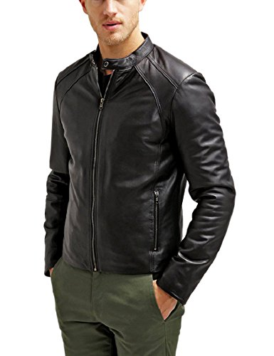 The Leather Factory Men's Maximus Black Genuine Lambskin Leather Biker Jacket M Black