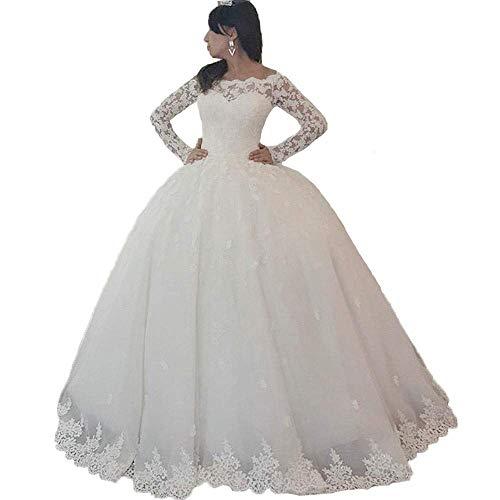 Off-Shoulder Beaded Vintage Lace Applique. Bridal Gown Long Sleeves Organza Wedding Dresses (Ivory, 12)