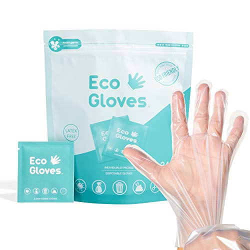 Eco Gloves Individually Packaged Pairs of Compostable Eco-Friendly Gloves Latex Free, Powder Free, Plastic Free for Safety, Protection, Cleaning, Food Handling, Pet Care | One Size Fits Most | Clear