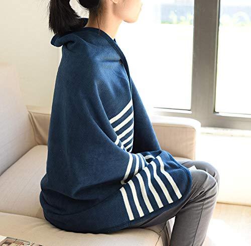 Ririhong Mantón de Franela de Felpa Suave con Botones Capa Ropa para el hogar Manta a Cuadros de Doble Capa para Mujer Abrigo cálido de Invierno para Mujer -Navy_Blue_140cm * 190cm