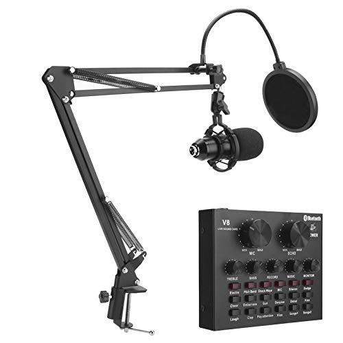 Snufeve6 Conjunto De Micrófono De Condensador, Micrófonos De Estudio con Tarjeta De...