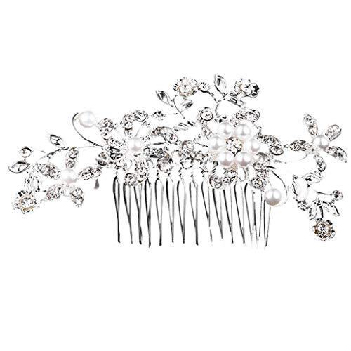 JieGorge - Diadema para el pelo para mujer, diseño de cristales de boda, color blanco