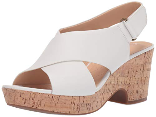 Clarks Damen Maritsa Lara Keilabsatz-Sandale, Weißes Leder, 38.5 EU