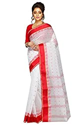 Traditional Bengali White Saree With Red Border For Durga Puja