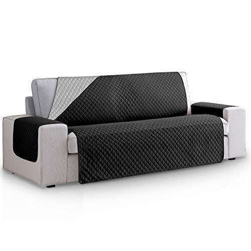 Vipalia Funda Cubre Sofa Acolchado Reversible Bicolor. Fundas para Sofa 3 plazas Rombos. Cubre Sofas de Salon Antimanchas Ajustables. Color Negro - Gris. Funda de Sofa 3 plazas (160 cm)