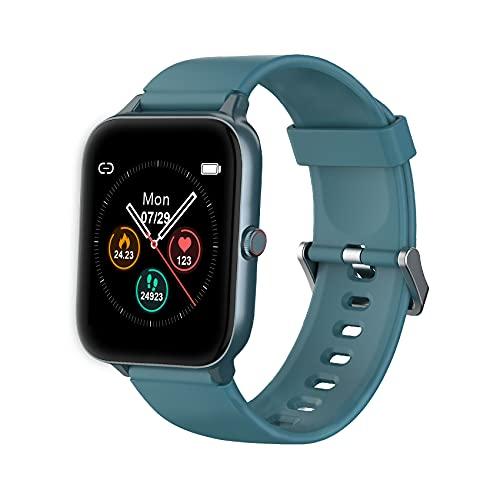 """IOWODO Smartwatch,Reloj Inteligente Hombre Mujer con 1.5"""" Táctil Completa 5ATM para Pulsómetro, Monitor de Sueño,Podómetro, Modo de Natación, Pulsera de Actividad Inteligente para Android iOS"""