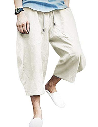 COOFANDY Mens Linen Cotton Loose Casual Lightweight Elastic Waist Straight Pants