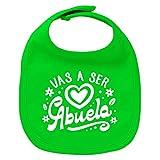 ClickInk Babero bebé Vas a ser abuela. Regalos para bebés. Regalo divertido. Regalo abuela. Regalo abuelos. Babero bebé algodón. (Verde)