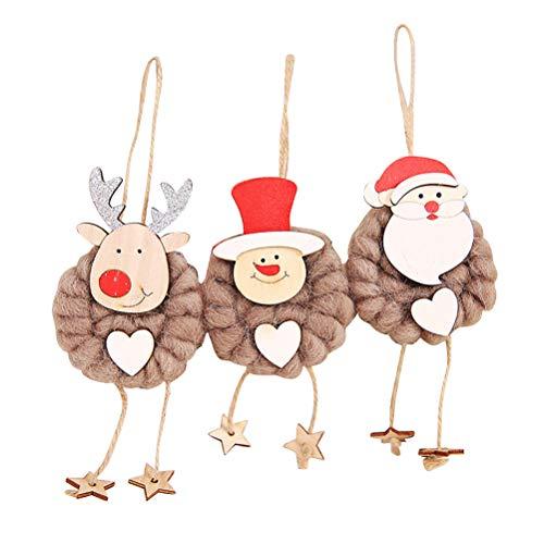 Amosfun 3 Pezzi Ornamenti di Natale Albero appendini Carino Fai da Te in Legno Ornamenti Santa Pupazzo di Neve Alce Decorativo Bambola Cartoon Pendente per la casa Artigianato Fai da Te (caffè)