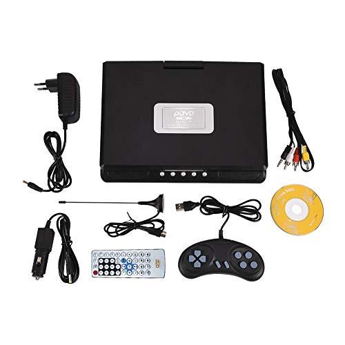 Socobeta Reproductor de Video DVD Giratorio de 9 Pulgadas LCD portátil con Pantalla Ancha Radio Juego SD USB AV CD VCD(Enchufe de la UE)