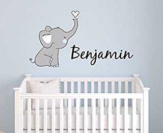 Boys Nursery Elephant Custom Personalized Name Wall Decal Small, Nursery Elephant Wall Decals, Boys Personalized Decals Elephants, Nursery Decals, Nursery Wall Decals, Plus Free Hello Door Decal