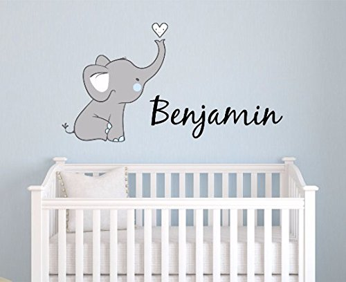 Boys Nursery Elephant Custom Personalized Name Wall Decal Large, Nursery Elephant Wall Decals, Boys Personalized Decals Elephants, Nursery Decals, Nursery Wall Decals, Plus Free Hello Door Decal