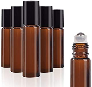 6 Pack 10ml Amber Glass Roll on Bottles with Stainless Steel Roller Balls Use for Fragrance Lotion Aromatherapy