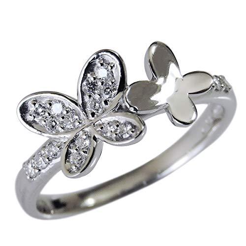 真珠の杜 ダイヤモンド PT900プラチナ フラワーモチーフ 花 蝶々 四つ葉 可愛い diamond ダイヤ flower リング レディース 9.5号