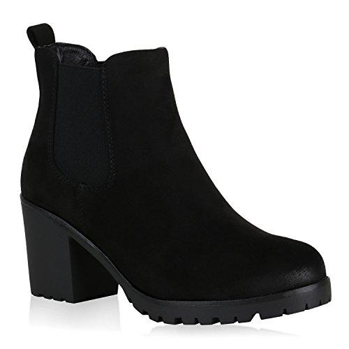 Damen Gefütterte Chelsea Boots Wildleder-Optik Stiefeletten Boots 148711 Schwarz Arriate 40 Flandell