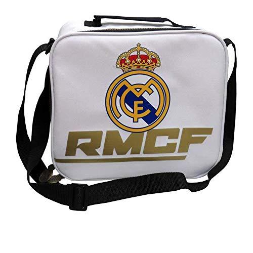 Real Madrid Merienda Bolsas Fiambreras bento-Porta Alimentos Artículos para el hogar Unisex Adulto, Compuesto, Blanco, única
