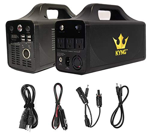 KYNG Power Solar Generator Portable Power Station 500W UPS Battery for Emergency, Tradeshow Battery Powered Inverter 12V, 3 AC, 4 USB Outlets FREE Solar Panel Cable, Camping, CPAP, 280wh