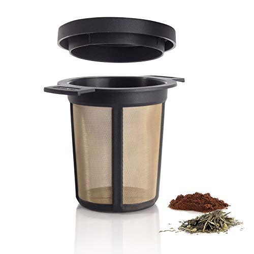 Finum BREWING BASKET (M) - Dauerfilter für Tee & Kaffee, Tee Permanent Filter, Tassen- & Becherfilter, Gewürzfilter, Kräutersieb, BPA-frei, rostfreies Edelstahlgewebe, Sieb Geschmacksneutral -Schwarz