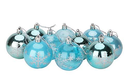 Christmas Concepts® Packung mit 10-60 mm Christbaumkugeln - Glänzend, Perle & Transparent Schneeflocke Dekoriert Christbaumkugeln (Ice Blue)