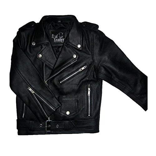 62940463 Boys/Girls Genuine Leather Motorcycle Brando Kids Biker Jacket (4 to 13  Years)