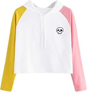 Ghazzi Women Hoodies Sweatshirt Cute Printed Color Patchwork Long Sleeve Shirt Pullover Tops Sweaters Blouse