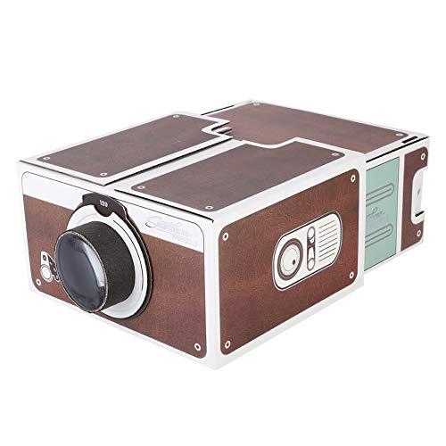 DIY Cardboard Smartphone Projector,ASHATA Second-Generation Mini DIY Home Portable Smart Mobile Phone Projector Home Cinema,Home Theater Phone Screen Magnifier Providing 8X Image Magnification