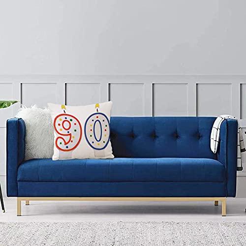 Set de 1 x Funda de Almohada 45x45 cm,Decoraciones de 90 cumpleaños, Velas de preparación para Fiestas número Noventa en Rojo y Azul, rFundas de Cojines de Calidad con una Suavidad Incomparable