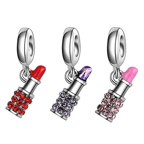Pandora 925 Encanto De Moda De Diamantes De Imitación Lápiz Labial Colgante Diy Cuentas Adecuadas Para Pulsera Original Señoras Joyería Haciendo Regalos