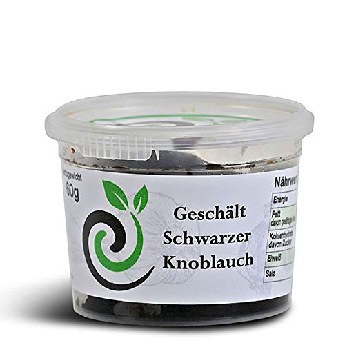 efinya-gourmet geschälter schwarzer Knoblauch aus Spanien | 60gr. Zehen ohne Schale fermentiert | Superfood | 100% Natürlich | Antioxidant | ajo negro | black garlic