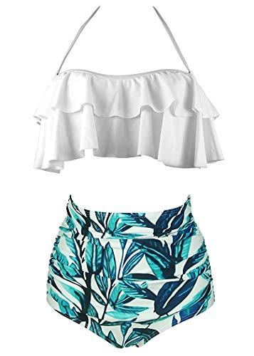 AOQUSSQOA Damen Badeanzug Rüschen Hals Hängen Bikini Sets Zweiteilige Bademode mit Hoher Taille Strandkleidung (EU 34-36 (S),Weißes Blatt)
