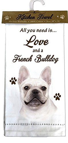 E&S Pets French Bulldog Kitchen Towels, Off-white