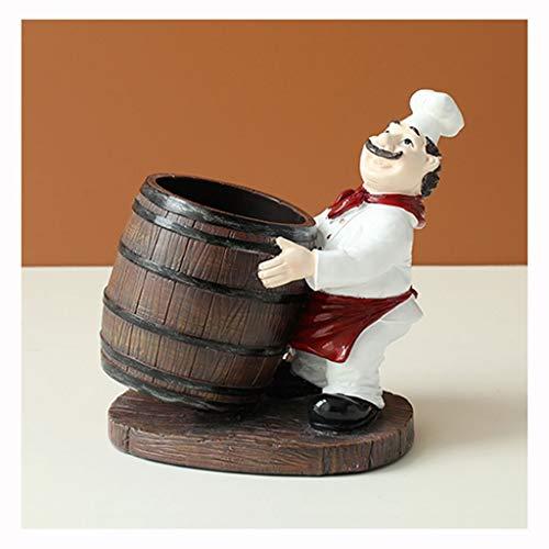 Botelleros Cocinero hecho a mano Figurita Soporte for botella de vino Tablero de mesa Adorno decorativo de resina Accesorios artesanales Estante for vino Regalos de Navidad Soporte botellero