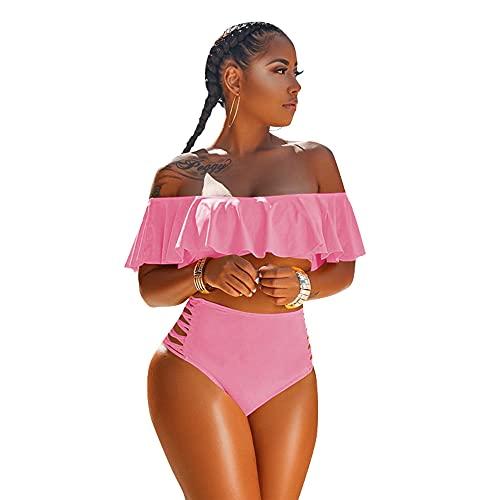 Conjunto de bikini para mujer sin tirantes de un solo color