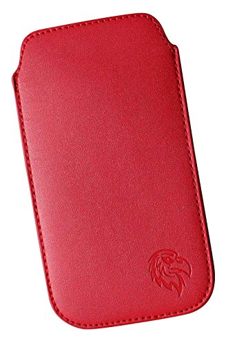 Dealbude24 Schutz Tasche passend für LG K50, Pull tab Hülle herausziehbar, dünnes Etui mit Rausziehband, weiches Microfaser exklusiv Adler XXL Rot
