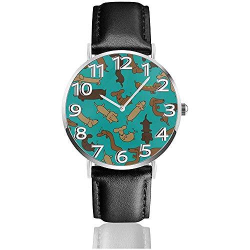 Uhr Armbanduhr Wiener Hundemuster Classic Casual Quartz Watch Uhren für Männer Frauen