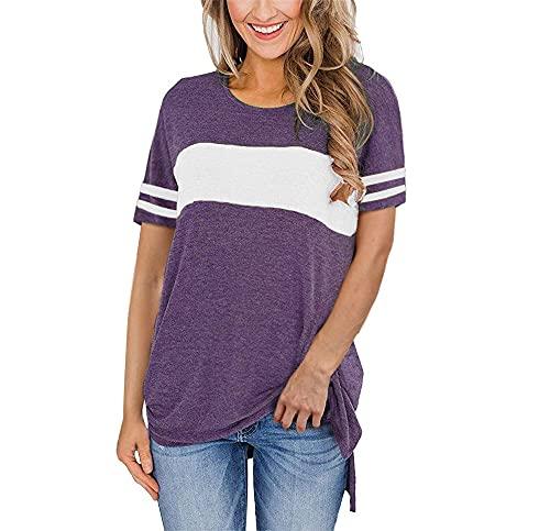 Camiseta Mujer Tops Mujer Cómodo Suelto Cuello Redondo Rayas Manga Corta Verano Moda Urbana Vacaciones Ocio Dulce Elegante Mujer Shirt Mujer Camisas I-Purple 4XL