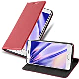 Cadorabo Hülle für OnePlus 3 / 3T in Apfel ROT - Handyhülle mit Magnetverschluss, Standfunktion & Kartenfach - Hülle Cover Schutzhülle Etui Tasche Book Klapp Style