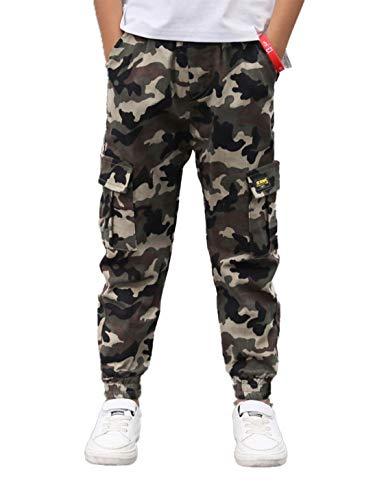 MSemis Pantalon Cargo Camouflage Enfant Garçon Jogging Pantalon Décontracté Taille Elastique 5-14 Ans Camouflage 11-12 Ans
