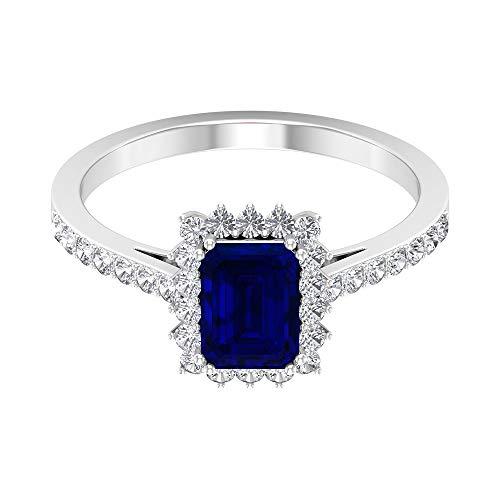 Rosec Jewels 14 quilates oro amarillo redonda Octagone Blue Blue Sapphire Diamond