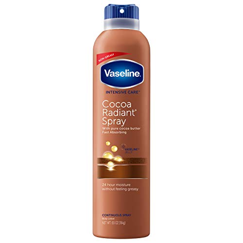 Vaseline Spray & Go Moisturizer, Cocoa Radiant, 6.5 oz (4 Pack)