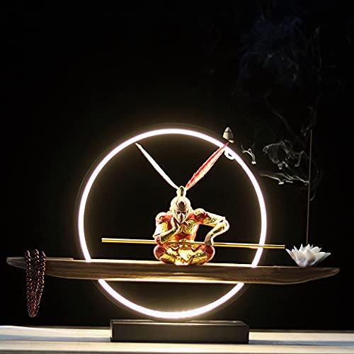 Wukong Decorations, Entrada De Sala De Estar Cerámica Creativa Incienso De Reflujo El Rey Mono Derrota a Buda Decoración De Mesa (rojo/Negro)